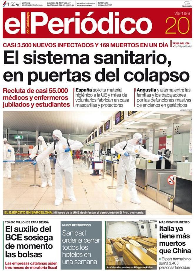 La portada de EL PERIÓDICO del 20 de marzo del 2020.