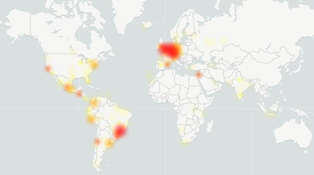 Mapa de las incidencias de Whastapp de la web Downdetector.