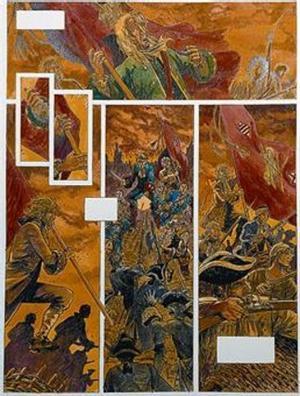 DE 1714 A LOS CAMPOS NAZIS PASANDO POR LA GUERRA CIVIL 3 Arriba, viñeta de 'Yo, René Tardi', donde Jacques Tardi recupera lo vivido por su padre en un campo nazi. A la derecha, página original de '1714', de Garcia Quera, y, abajo, viñeta original de 'Malos tiempos', de Carlos Giménez, sobre la guerra civil, ambas expuestas en el Salón del Cómic.