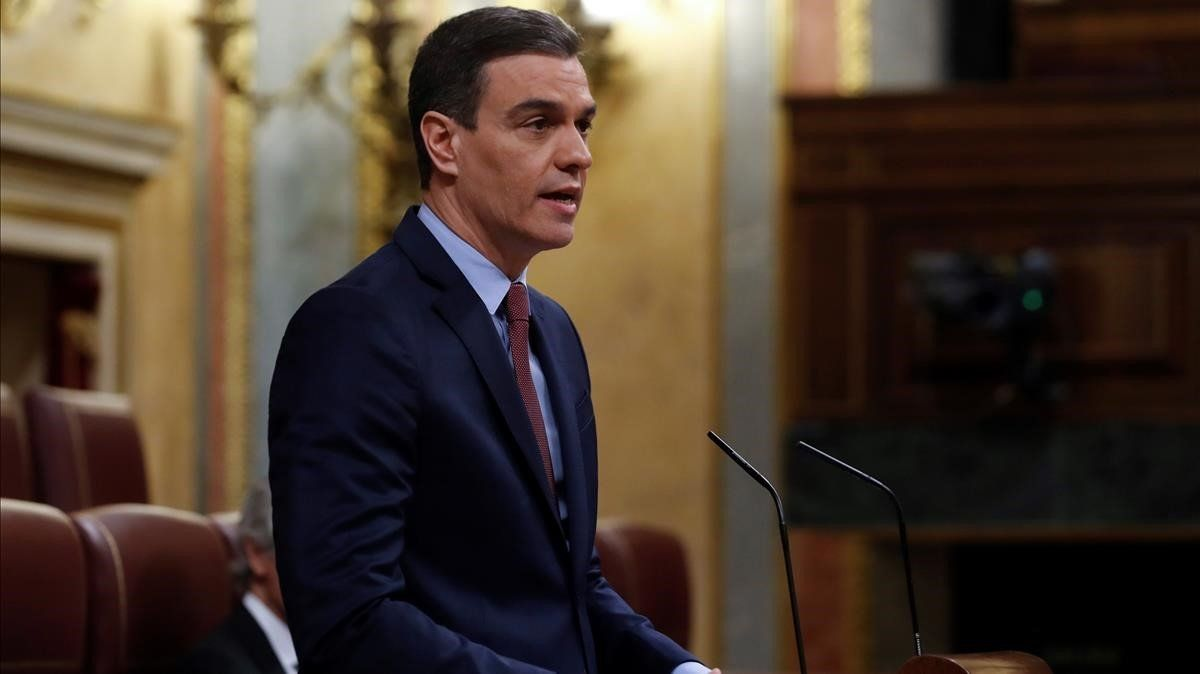 Pedro Sánchez, este miércoles durante su intervención en el Congreso de los Diputados.