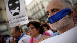 Manifestación en Madrid contra la 'ley mordaza', en el 2015.