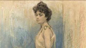 Fragmento de uno de los dibujos de Ramon Casas expuesto en la galería Gothsland.