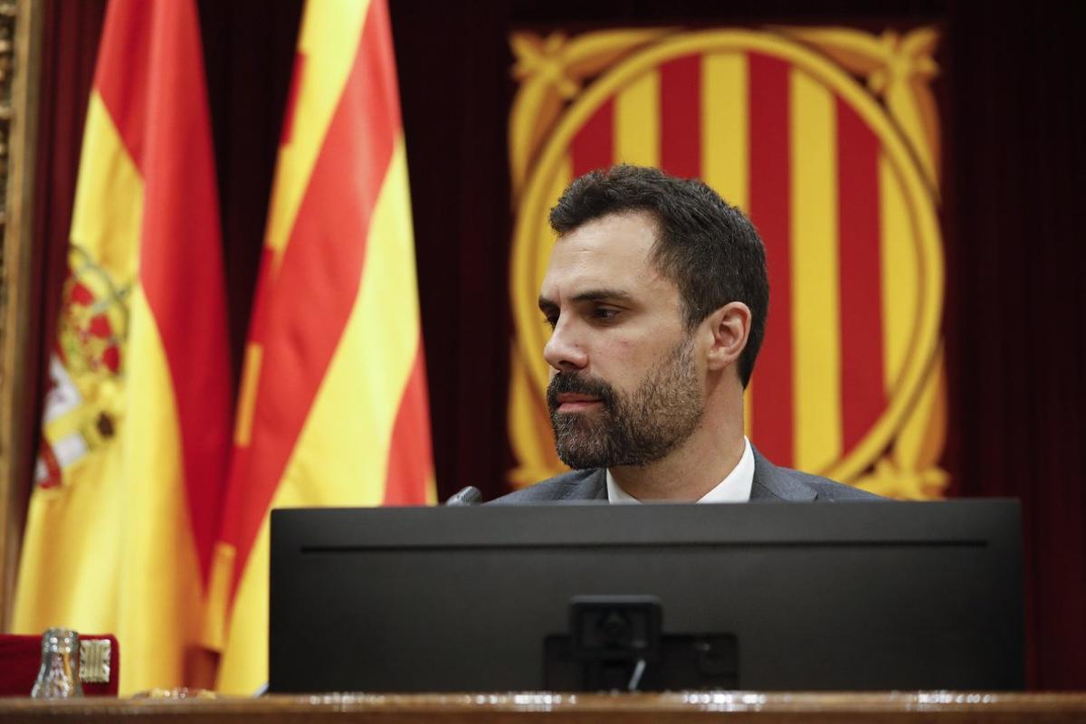 El presidente del Parlament, Roger Torrent, en la Cámara catalana.