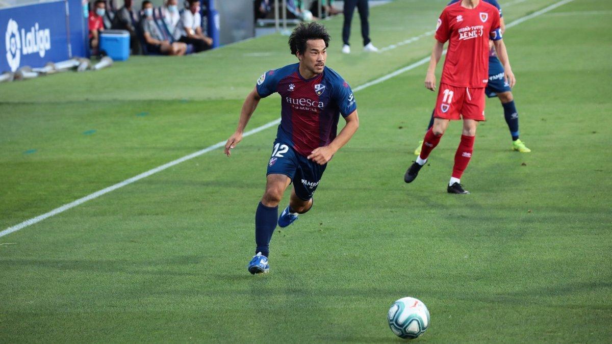 Okazaki, durante el partido contra el Numancia.