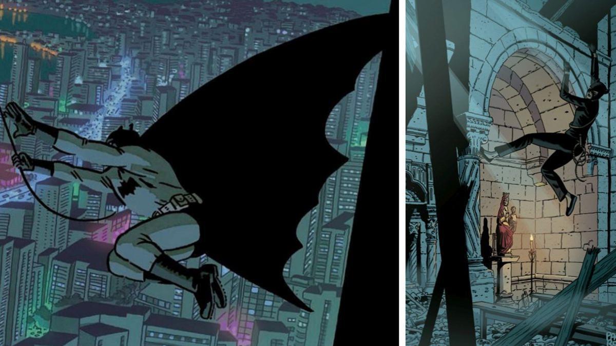 A la izquierda, una viñeta de 'Batman. El mundo'. A la derecha, ilustración inédita de 'La Gata', con Catwoman en la Guerra Civil,  cedida por Paco Roca.