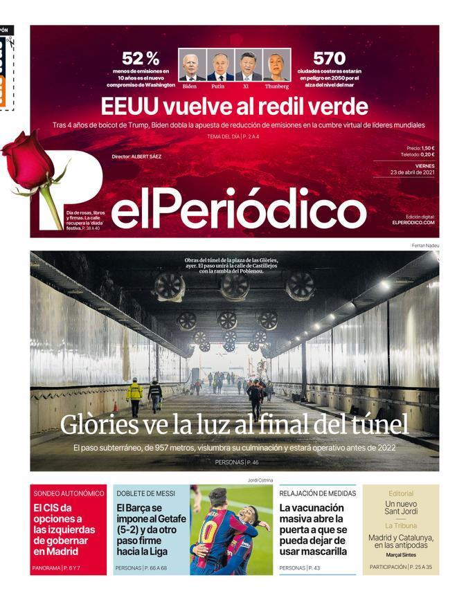 La portada de EL PERIÓDICO del 23 de abril de 2021