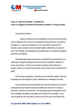 Carta de dimisión del portavoz del Grupo Covid-19, el catedrático Emilio Bouza.