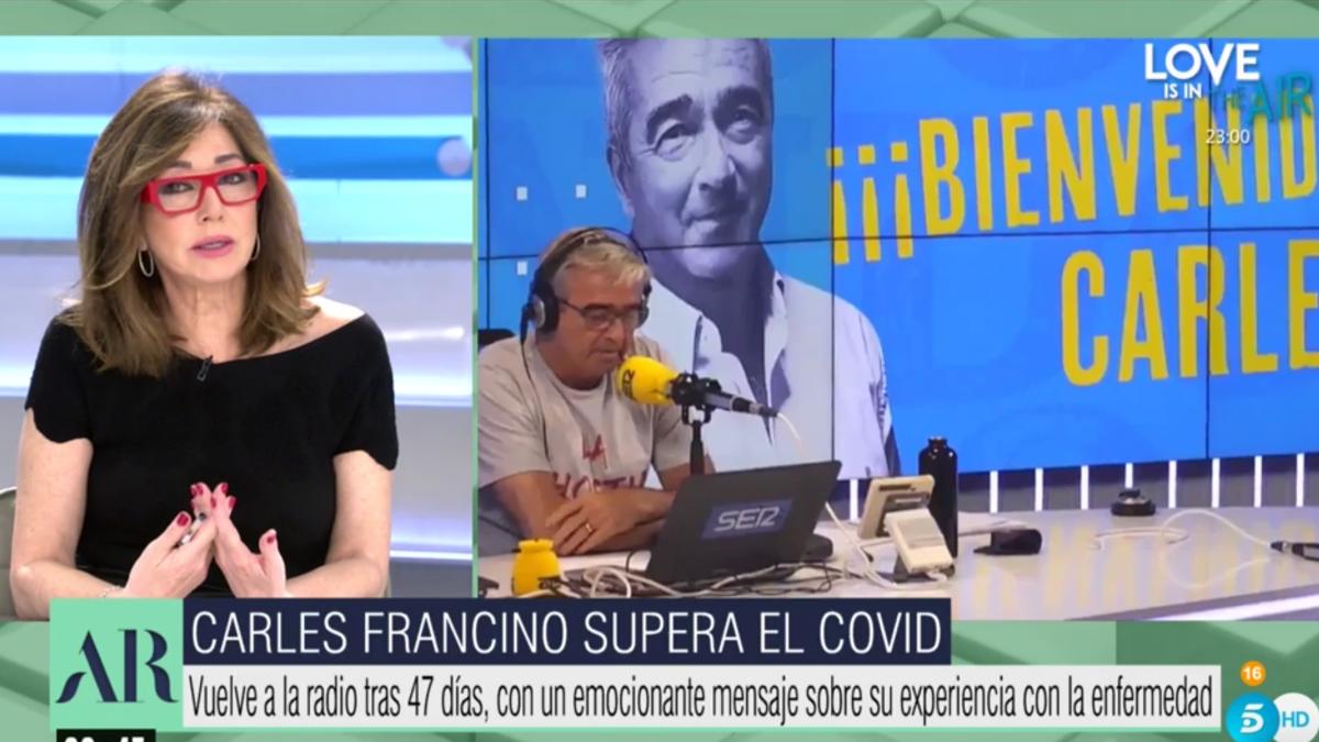 Ana Rosa Quintana comentando las palabras de Carles Francino.