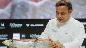 Ángel León presenta el jamón del mar en Madrid Fusión, este lunes.