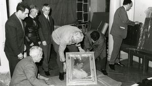 Llegada a la sede del Museu d'Art de Barcelona de las obras donadas por Picasso a la ciudad, en mayo de 1970.