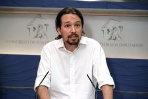 El líder de Podemos, Pablo Iglesias, durante una rueda de prensa.