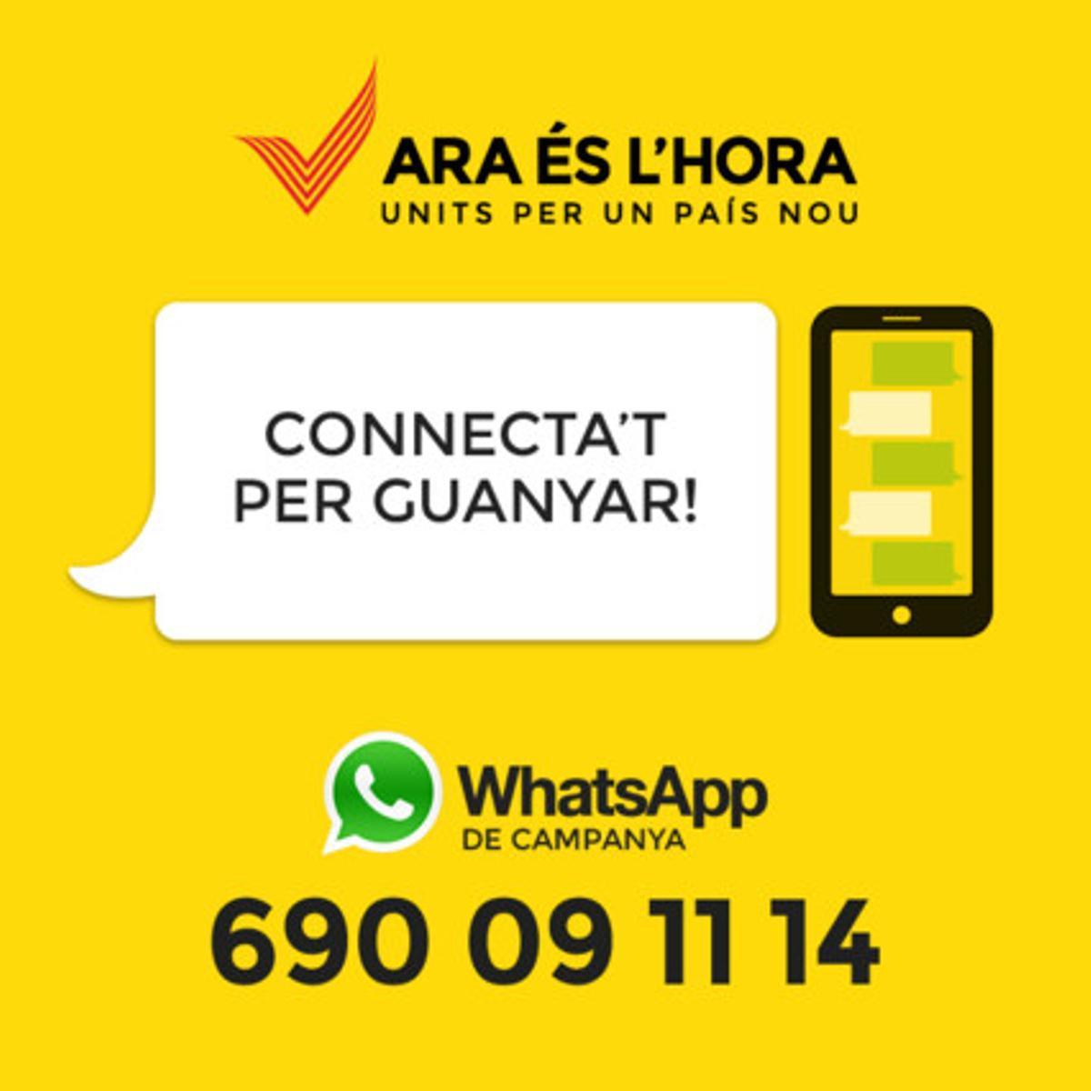 Imagen de promoción de la nueva herramienta de Whatsapp, 'Connectats per guanya'