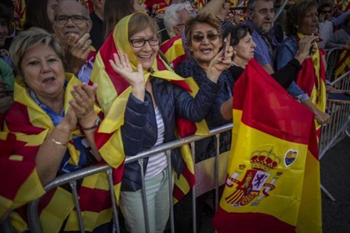 Vista de la manifestación en el paseo de Gràcia, ayer.