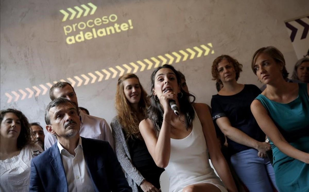 Rita Maestre, Tania Sánchez y José Manuel López, el pasado 7 de septiembre, en la presentación de su candidatura para dirigir Podemos Madrid.