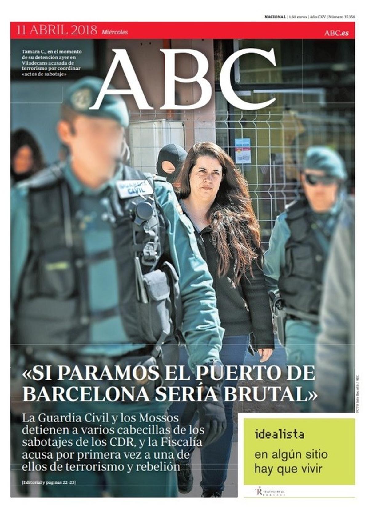 """""""Terrorismo separatista y callejero en Catalunya"""", proclaman 'Abc' y 'La Razón'"""
