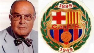 Combo fotográfico con un retrato de Salvador Grau y el escudo del Barça de 1949.