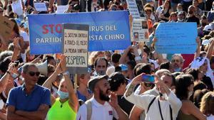 Asistentes a la manifestación del pasado 16 de agosto en la madrileña Plaza de Colón.