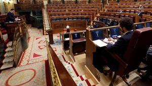 El presidente del Gobierno,Pedro Sánchez,durante su intervención en la sesión de control al Ejecutivo celebrada el miércoles 22 de abril en el Congreso.