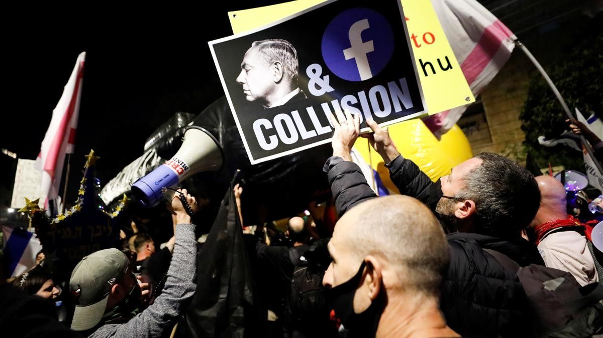 Manifestación contra el primer ministro israelí, Binyamin Netanyahu, en Jerusalén el pasado sábado.