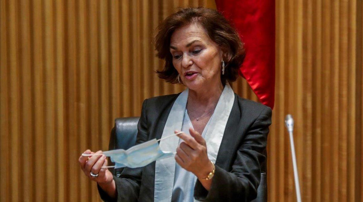 La vicepresidenta primera, Carmen Calvo, en el Congreso.