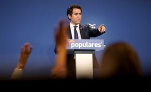Teodoro García Egea durante la rueda de prensa que ha ofrecido en el Partido Popular.
