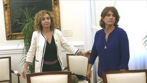 La 'consellera' Ester Capella y la ministra Dolores Delgado, en el Ministerio de Justicia