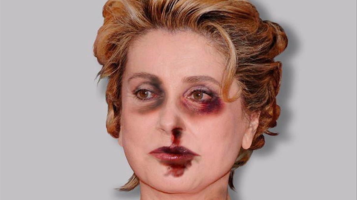 Un artista retrata a Catherine Deneuve herida por la violencia machista
