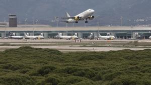Despegue de un avión en la tercera pista L25 del aeropuerto.
