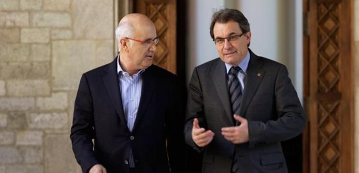 Josep Antoni Duran Lleida y Artur Mas, tras el encuentro que han mantenido este viernes en la Generalitat.