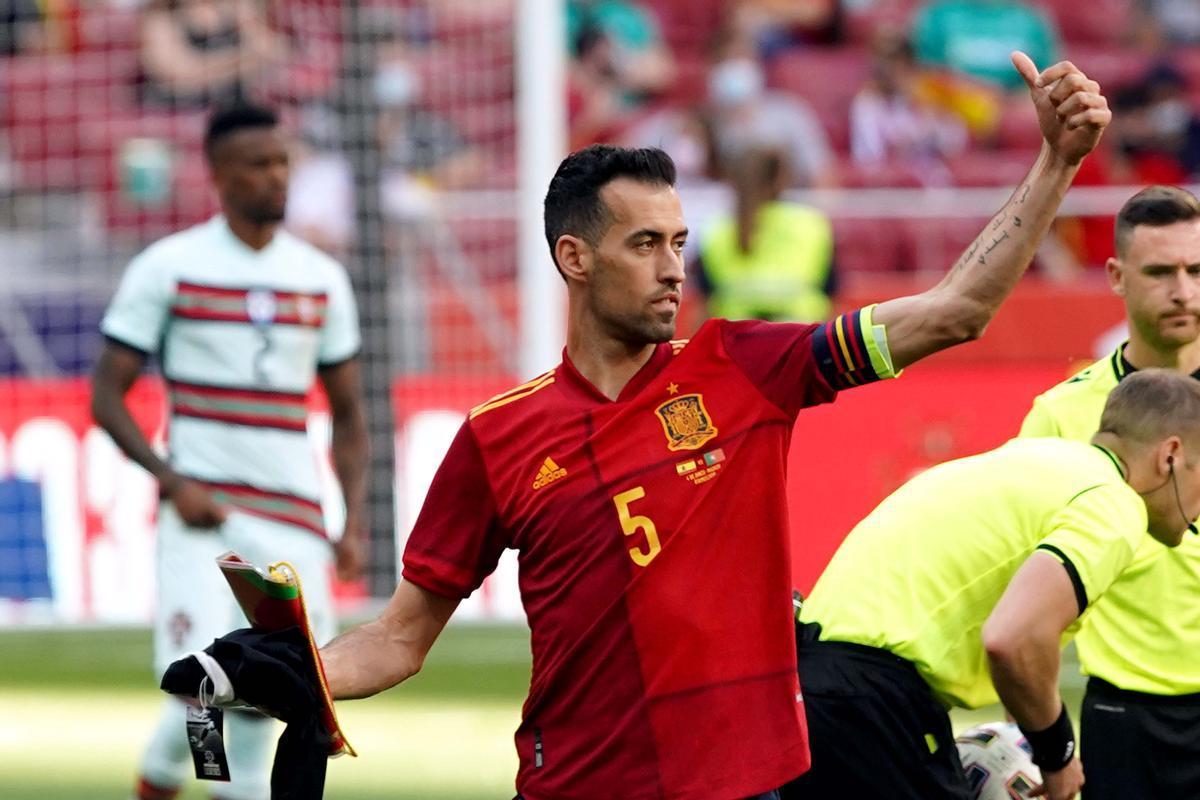 Sergio Busquets antes del partido amistoso que enfrento a la selección de España contra Portugal el pasado04-06-2021.