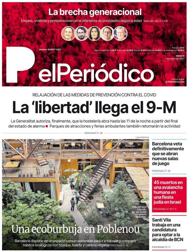 La portada d'EL PERIÓDICO de l'1 de maig del 2021