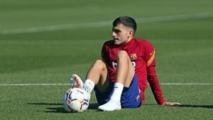 Pedri, en un entrenamiento del Barça.