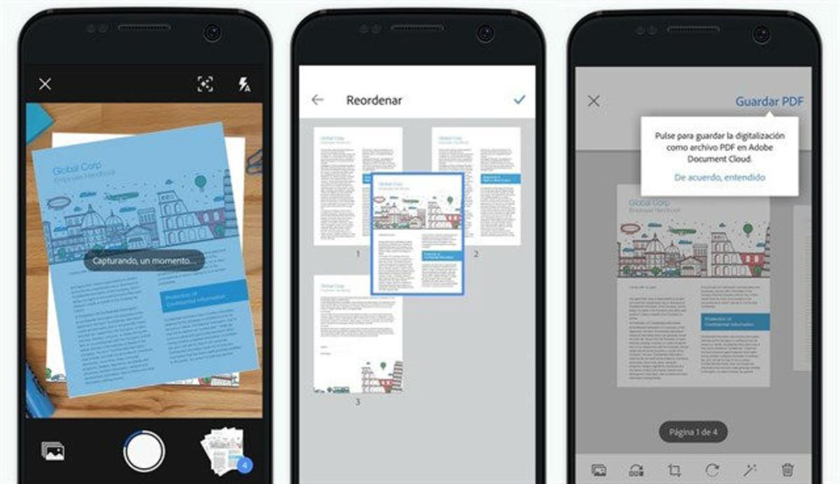 Así funciona Scan, la 'app' paraescanearimágenes y documentos desde el'smartphone'.