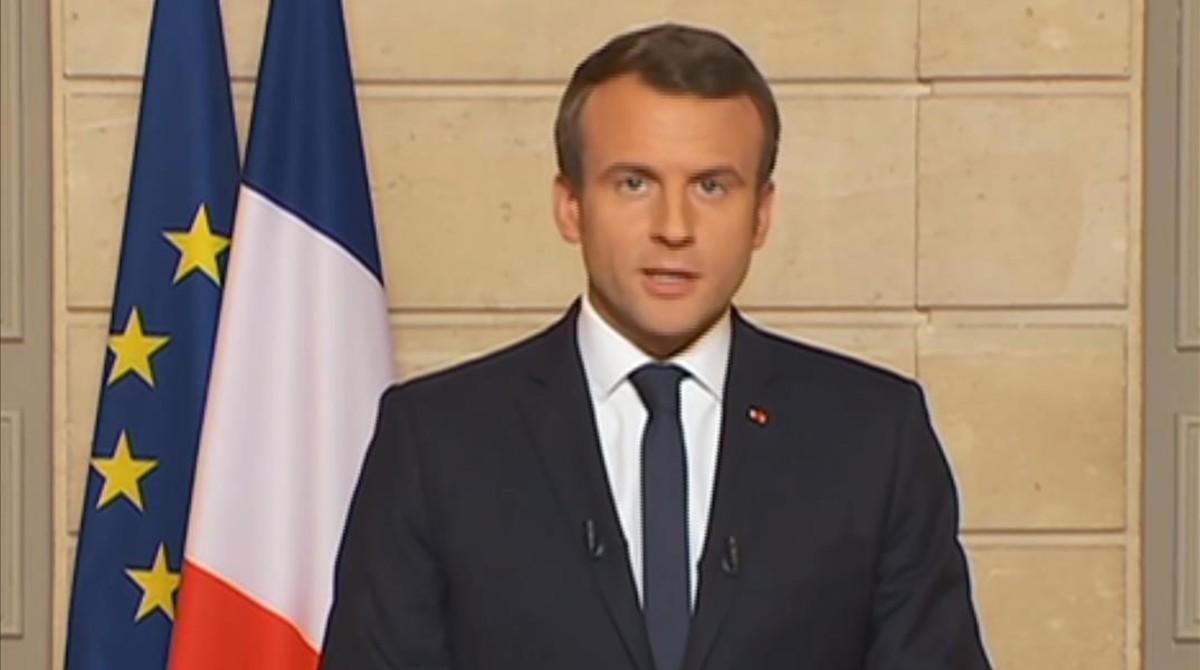 Macron, durante su discurso de este jueves sobre el clima.