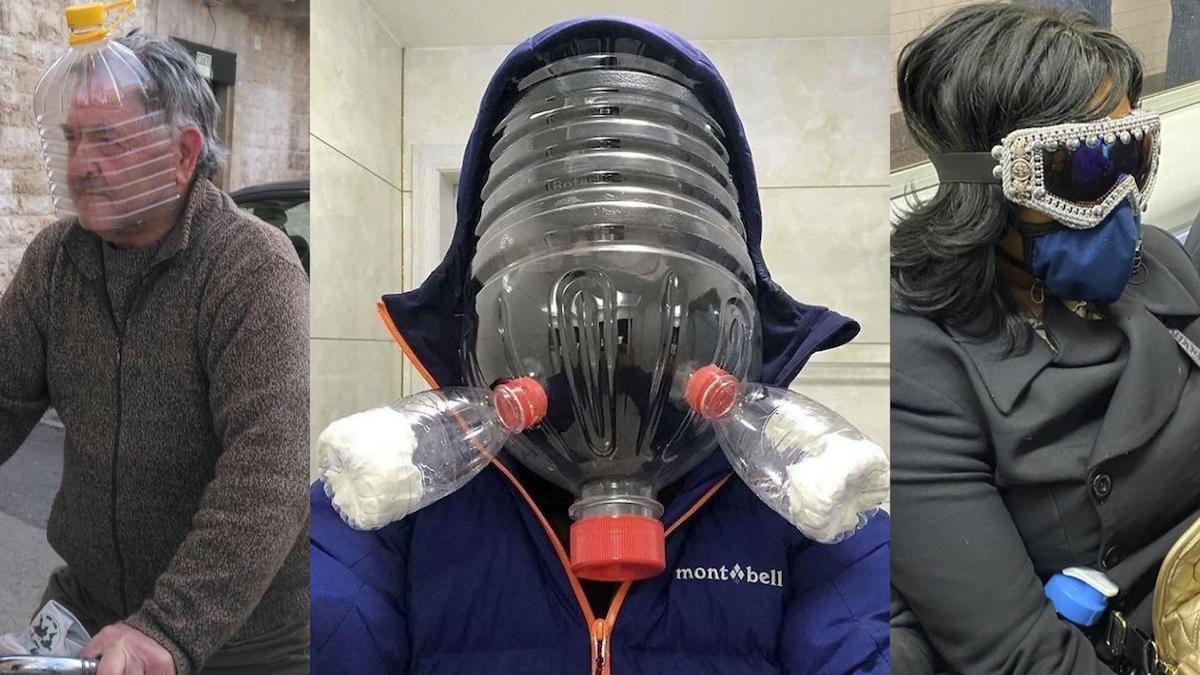 Bolsas de plástico en la cabeza, trajes Hazmat en el super... Los looks del coronavirus.