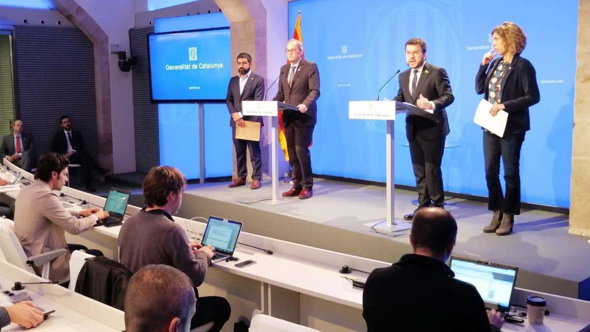 Comparecencia de Quim Torra para hablar sobre la situación del coronavirus en Catalunya.