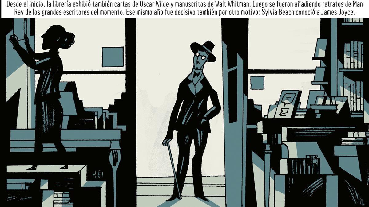 Viñeta de 'Warburg & Beach', con Sylvia Beach y James Joyce entrando en la librería Shakespeare & Co.