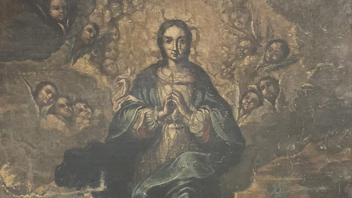 Fragmento del óleo de la Inmaculada proveniente del monasterio de Sijena ycustodiado por el Museu de Lleida.
