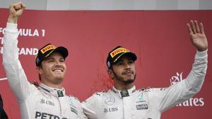 Nico Rosberg y Lewis Hamilton, la pareja de Mercedes.