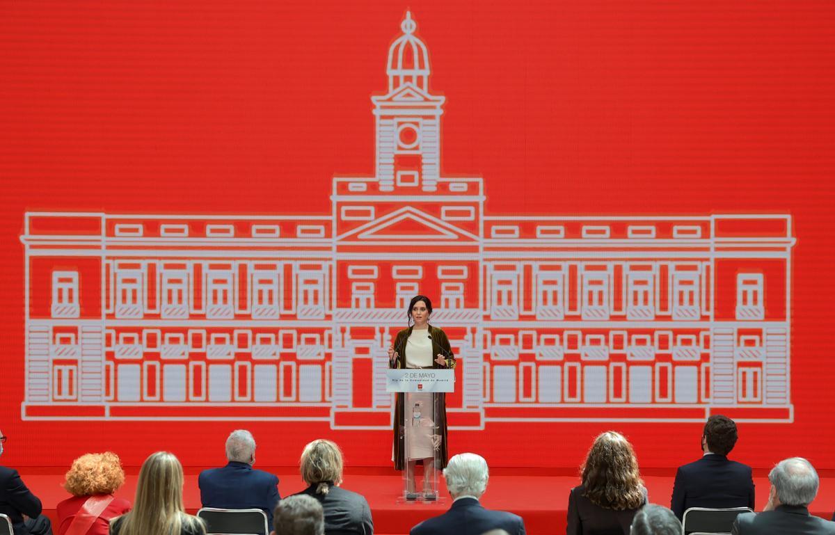 Ayuso, durante el discurso dentro de la Real Casa de Correos.