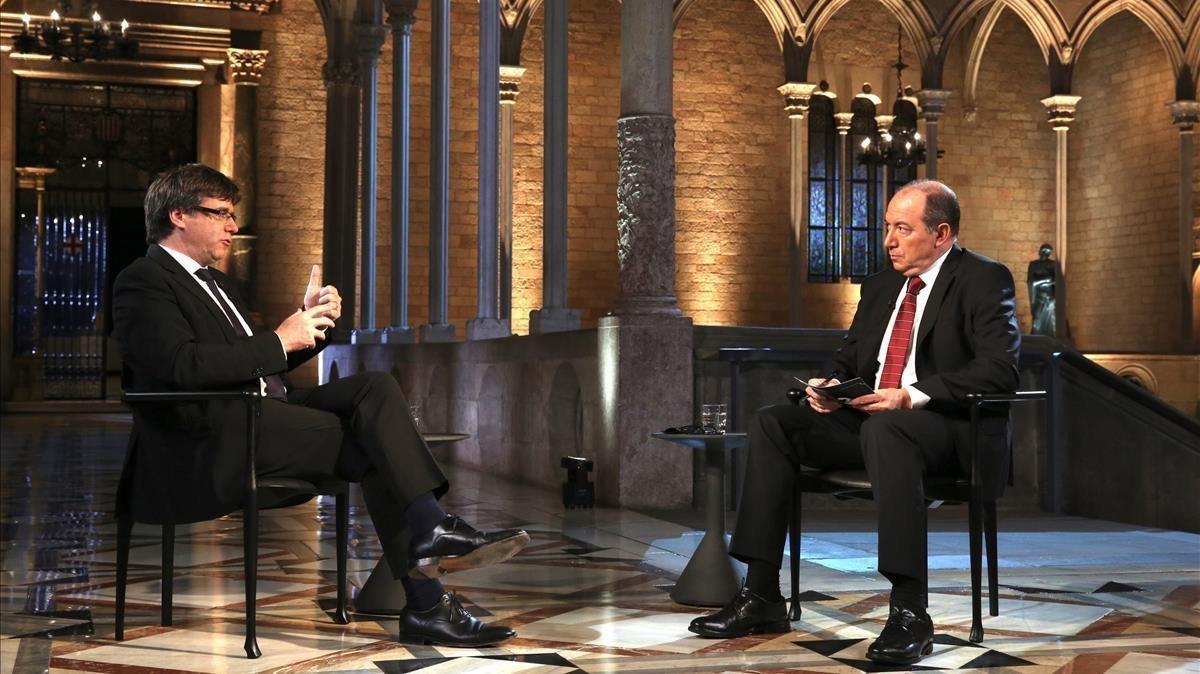 Vicent Sanchis, en una entrevista reciente conCarles Puigdemont.