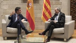 Pedro Sánchez y Quim Torra durante su reunión en la Generalitat el pasado 6 de febrero.