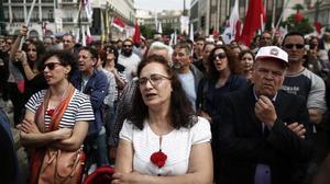 Protesta en Atenas de los afiliados al sindicato comunista PAME.