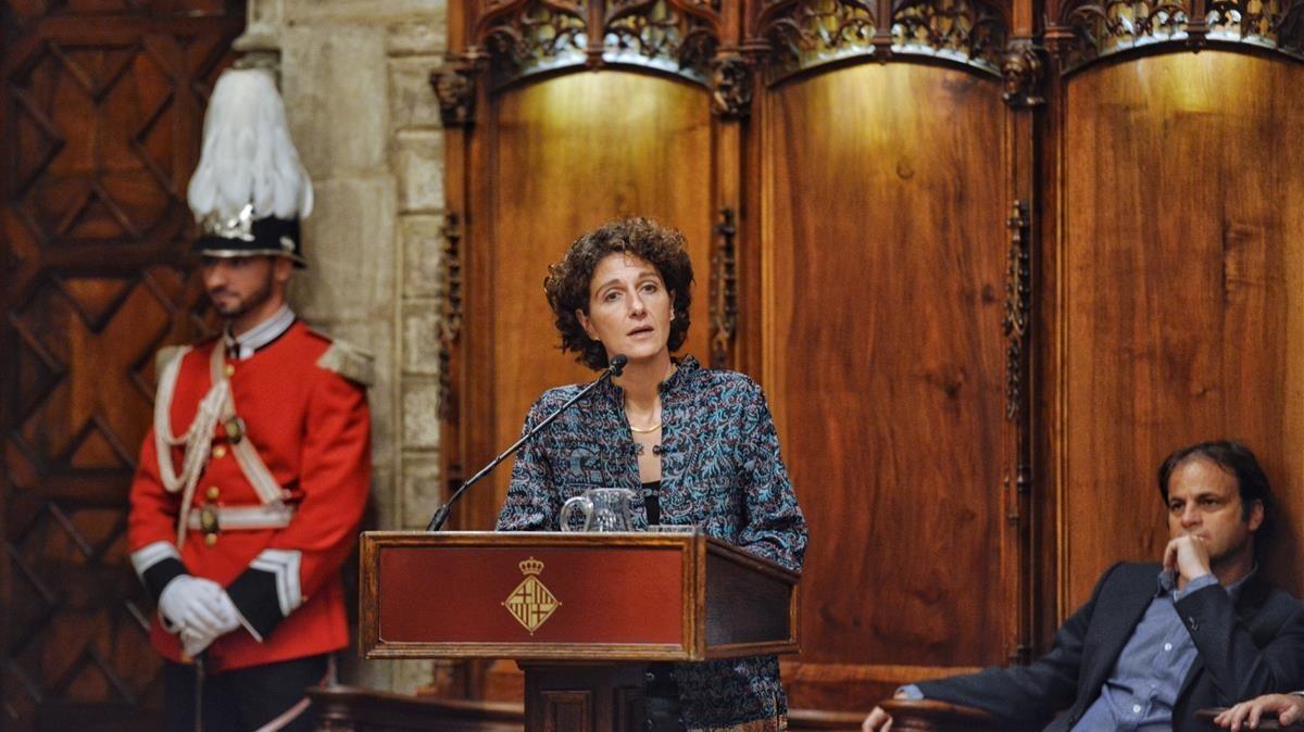 Marina Garcés, durante el pregón de la Mercè, en el Saló de Cent, este viernes.