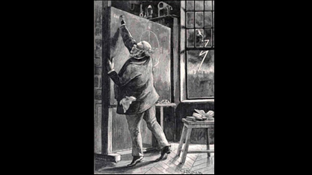 J. T. Maston, uno de los protagonistas de 'Al revés' haciendo sus cálculos para cambiar el eje de la Tierra. Ilustración de Georges Roux.