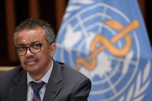 El director general de la OMS, Tedros Adhanom Ghebreyesus, en una rueda de prensa en Ginebra