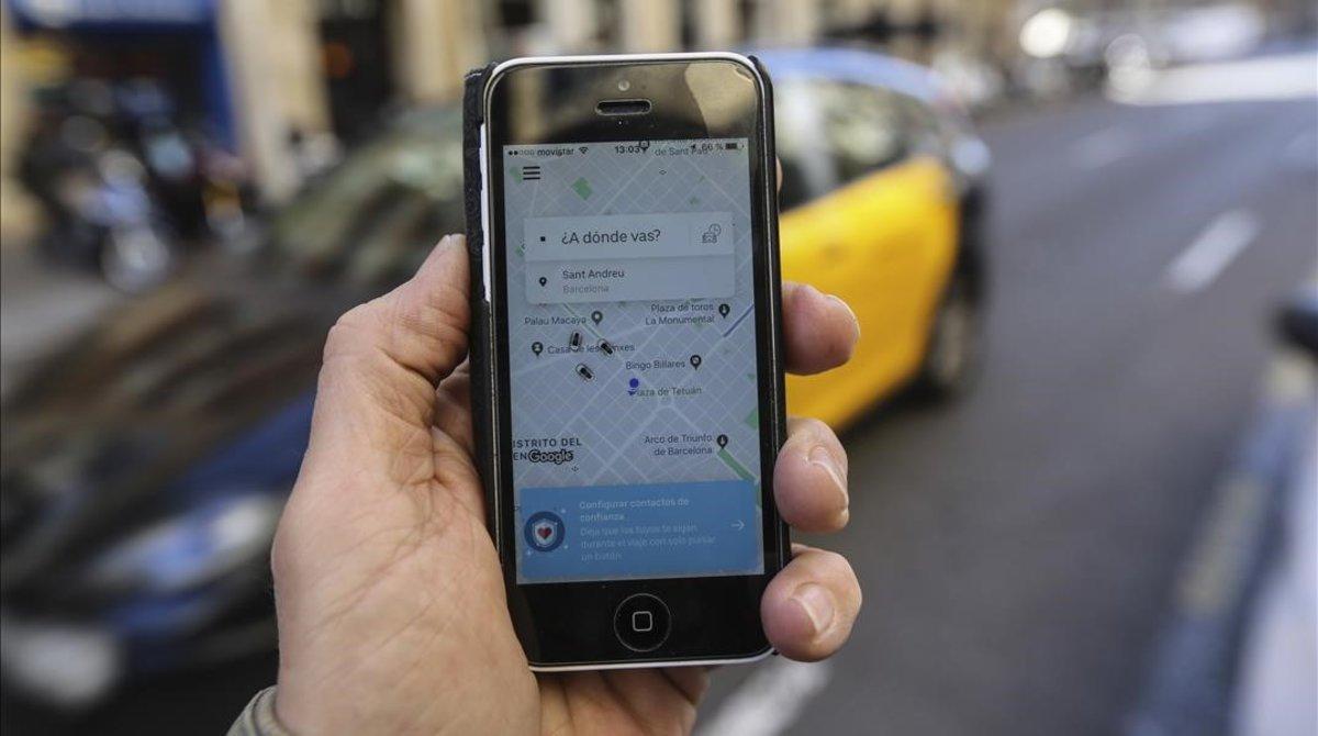 La interfaz de Uber.