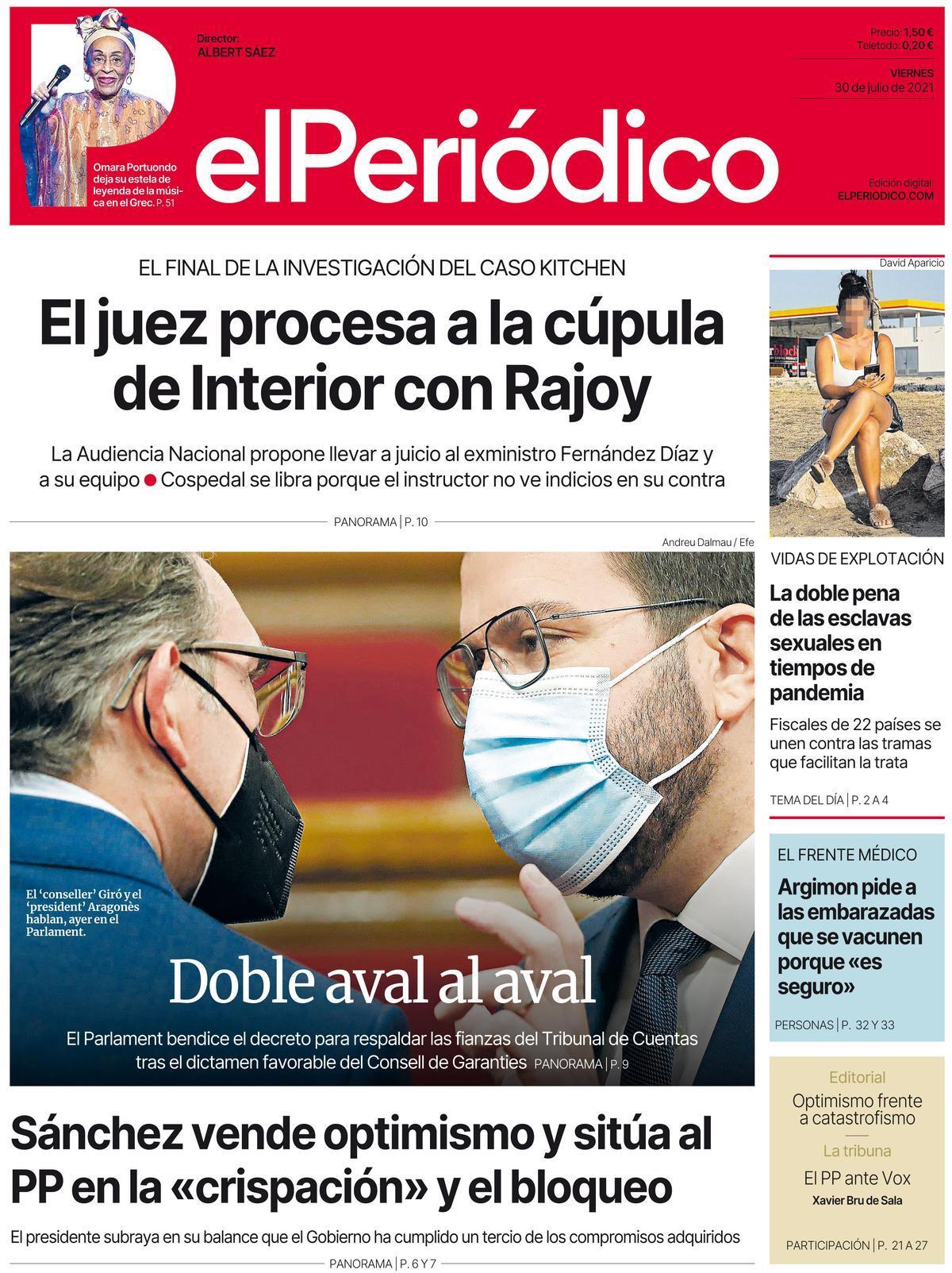 La portada de EL PERIÓDICO del 30 de julio de 2021