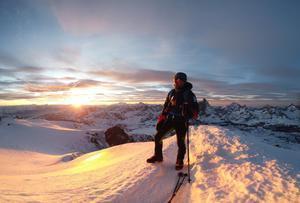 Sergi Mingote en la cumbre del Breithorn (Alpes), este mes de enero