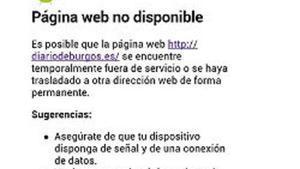 Captura de la web del 'Diario de Burgos', que ha sufrido problemas informáticos.